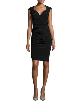 Cap-Sleeve Matte Jersey Cocktail Dress