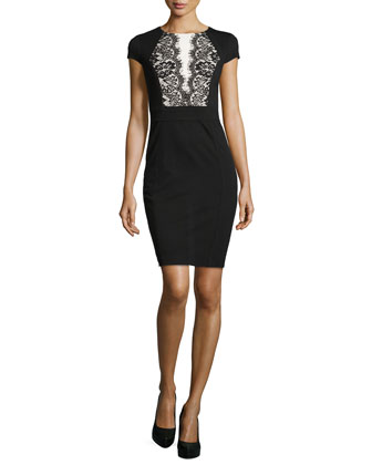 Cap-Sleeve Ponte Dress with Lace Trim