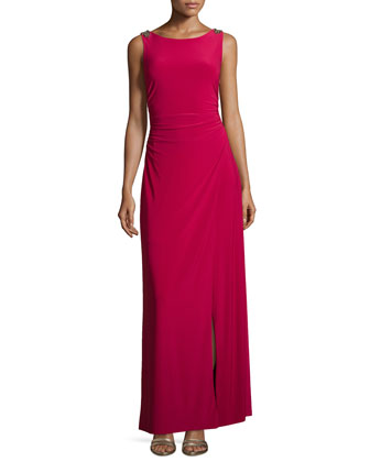 Sleeveless Draped-Back Crepe Gown
