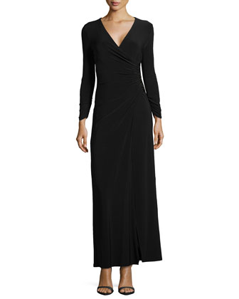 Long-Sleeve Faux-Wrap Gown