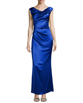 Charmeuse Gown with Draped Neck