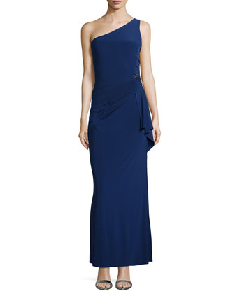 One-Shoulder Shirred Crepe Gown