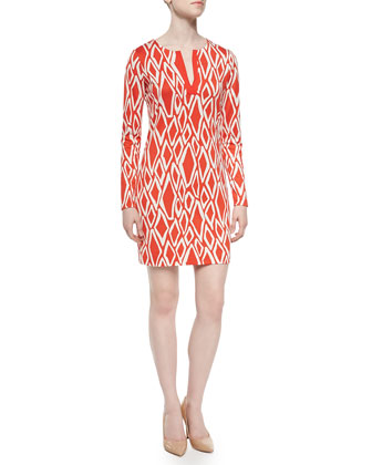 Ikat-Print Long-Sleeve Dress