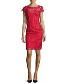 Cap-Sleeve Floral-Lace Sheath Dress