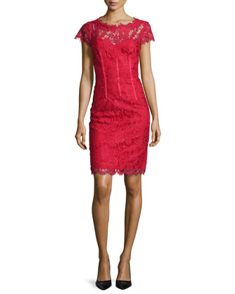 Cap-Sleeve Floral-Lace Sheath Dress