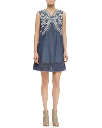 Gulper Embroidered Denim Dress