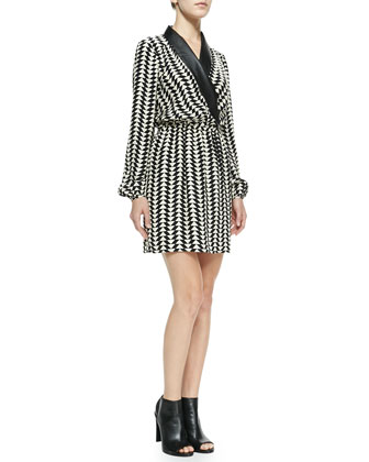 Luna Printed Silk Faux-Wrap Dress