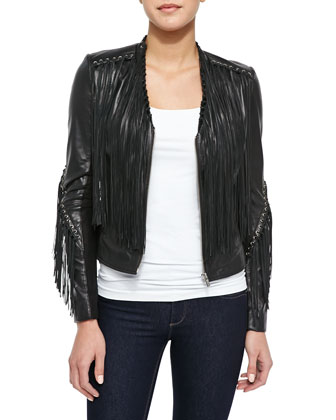 Sabine Leather Fringe Jacket