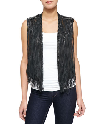 Brittany Fringe-Overlay Leather Vest
