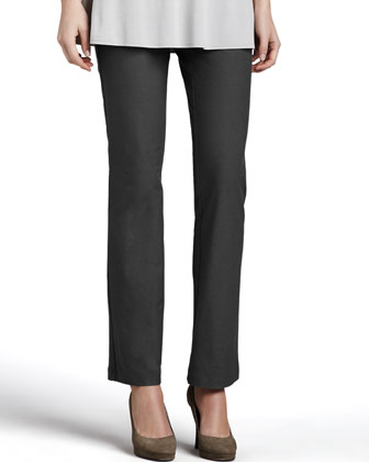 Washable Crepe Slim Boot-Cut Pants