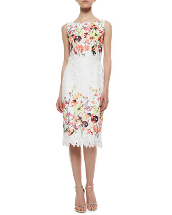 Sleeveless Floral Embroidered Lace Dress