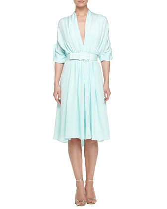 Belted Dress with Pleating, Mint