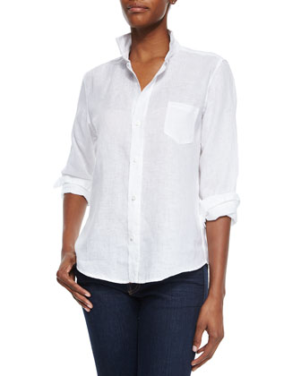 Long-Sleeve Linen Blouse, White