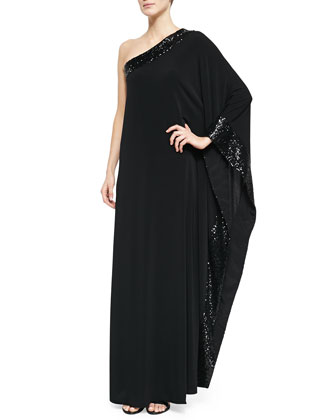 Sage One-Shoulder Sequin-Trim Gown