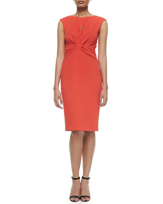 Sleeveless Twist-Front Sheath Dress