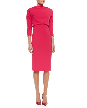 3/4-Sleeve High-Neck Sheath Dress, Watermelon