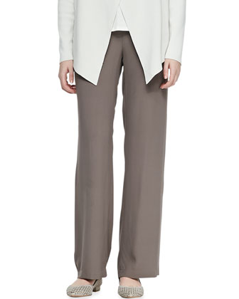 Silk-Cotton Interlock Jacket, Jersey Tank & Silk Georgette Crepe Pants, Petite