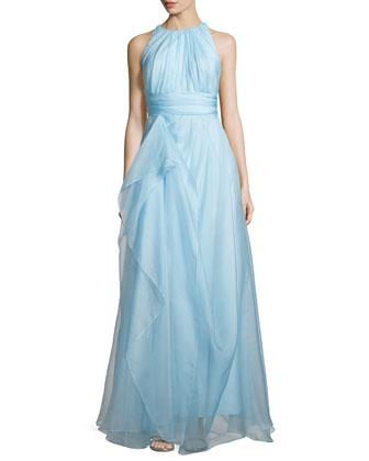 Sleeveless Draped Organza Ball Gown