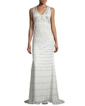 Sleeveless Beaded Gown, Mint