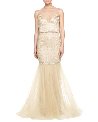 Beaded & Lace Illusion-Neck Gown, Gold