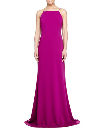 Sleeveless Pleated-Back Gown, Orchid