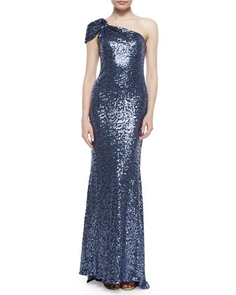 One-Shoulder Sequin Gown, Blue/Gray