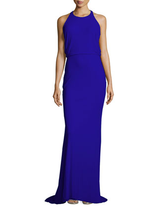 Split-Back Gown, Cobalt