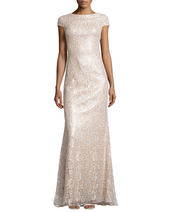 Metallic Lace Gown, Blush