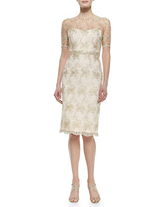 Short-Sleeve Lace Illusion Cocktail Dress, Blush