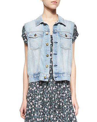 Rider Denim Vest & The Juliet Floral-Print Dress