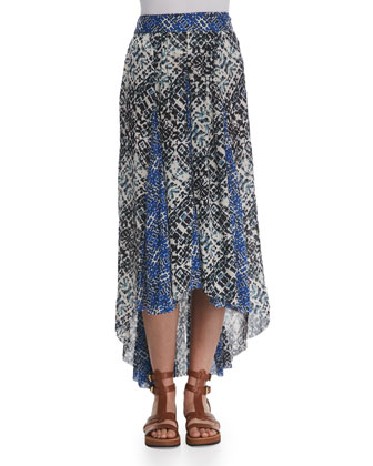 Printed High-Low Maxi Skirt