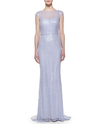 Cap-Sleeve Sequined Column Gown