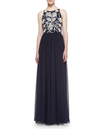 Sleeveless Embroidered-Bodice Gown