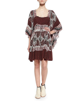 Scarlett Ruffled Printed Boho Dress