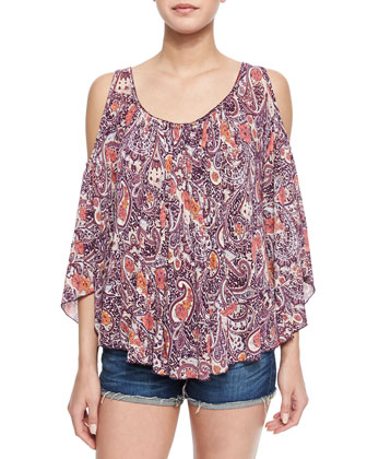 Paisley-Print Cold-Shoulder Top