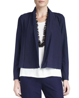 Washable-Stretch Crepe Short Jacket, Women's