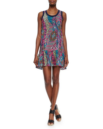 Jolie Printed Tank Dress, Pink