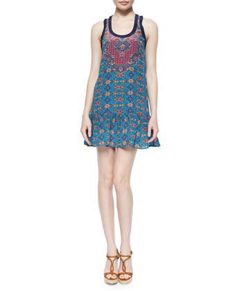 Jolie Printed Tank Dress, Turquoise