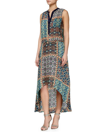 Lydia Printed High-Low Dress, Turquoise