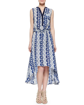 Lydia Printed High-Low Dress, Indigo