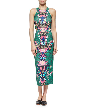 Mixed-Print Ponte Midi Dress