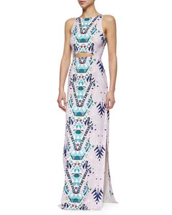 Mixed-Print Cutout Maxi Dress