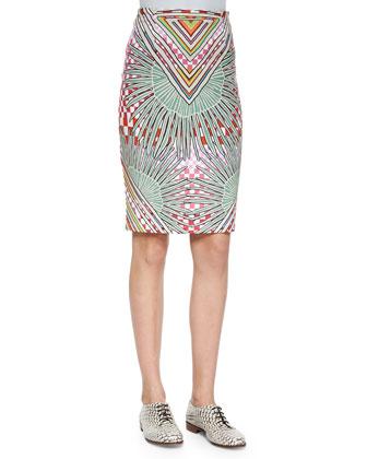 Mixed-Print Ponte Pencil Skirt