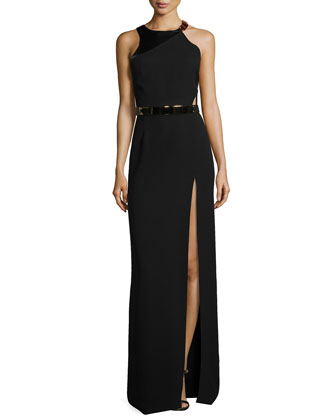Sleeveless Belted Gown with Slit