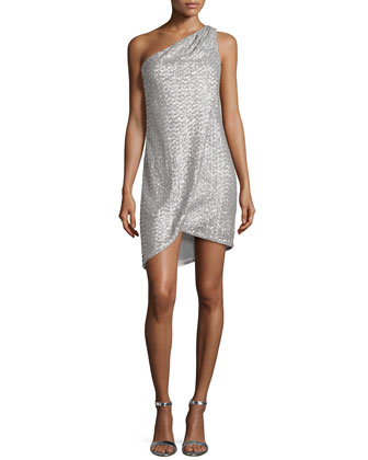 One-Shoulder Draped Sequined Cocktail Dress