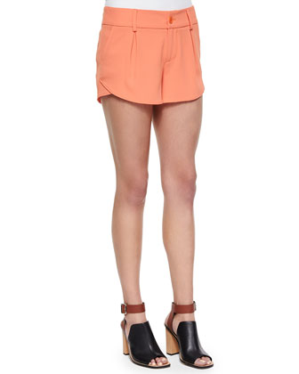 Butterfly Pleated Rounded Crepe Shorts