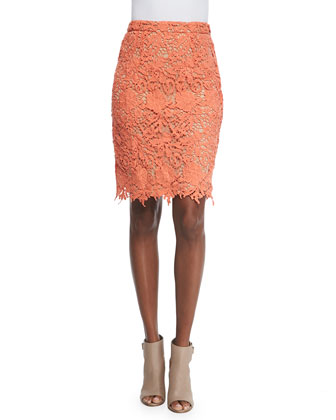 Farrel Floral-Crochet Pencil Skirt