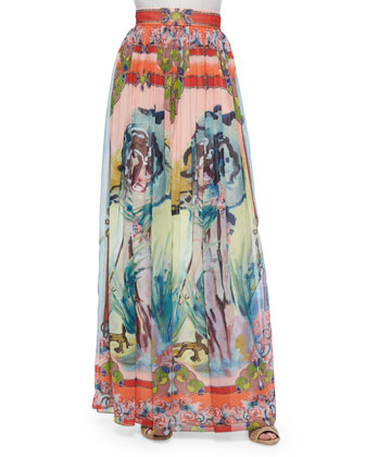 Open-Placket Stretch-Silk Blouse & Lola Printed Floral-Print Maxi Skirt