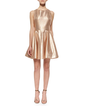 Lia Metallic Open-Back Dress