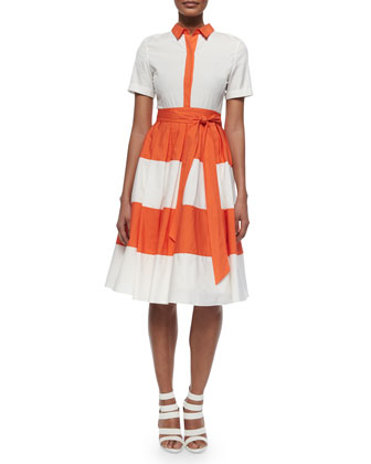Mary Striped A-Line Shirtdress